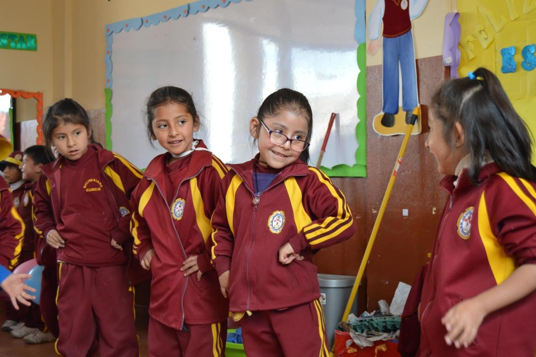 Children dance to traditional Peruvian music at a Projects Abroad childcare placement.